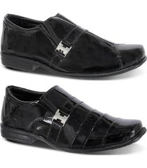kit 2 pares sapato social infantil couro verniz leoppé - masculino