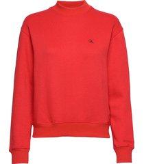 ck embroidery regular crew neck sweat-shirt trui rood calvin klein jeans