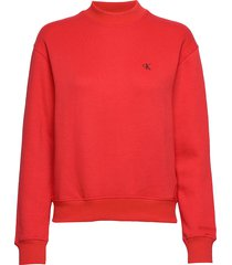 ck embroidery regular crew neck sweat-shirt trui rood calvin klein jeans