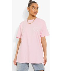 oversized t-shirt met borstopdruk, light pink