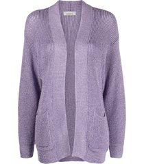 laneus slouchy knitted cardigan - purple