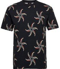 all-over printed crewneck t-shirt t-shirts short-sleeved svart scotch & soda
