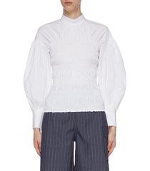 balloon sleeve ruch bodice cotton poplin blouse