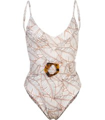 nicholas foliage-print belted swimsuit - white