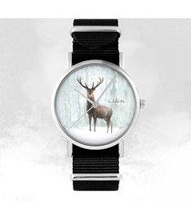 zegarek - jeleń 3 - czarny, nylonowy, unisex