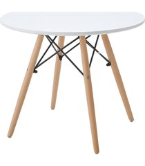 mesa eiffel inf. tp mdf branco base madeira rivatti - branco - dafiti