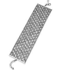 inc silver-tone rhinestone mesh flex bracelet, created for macy's