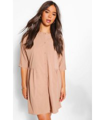 blouse jurk met driekwartsmouwen, stone