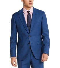 hugo hugo boss men's slim-fit medium blue sharkskin suit jacket