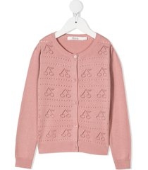 bonpoint perforated cherry cotton cardigan - pink