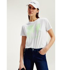 tommy hilfiger women's organic cotton relaxed fit t-shirt white / green palm - xl
