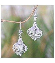sterling silver filigree dangle earrings, 'white mustard' (indonesia)
