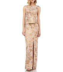 women's kay unger yasmine birds of paradise peplum column gown