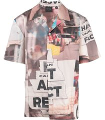 daily paper patch-work short sleeve shirt - pink