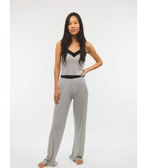 pijama side b lace longo listrado preto/branco
