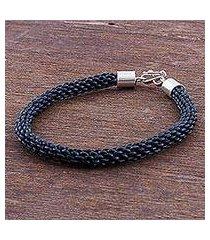 braided leather bracelet, 'peruvian braid' (peru)