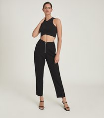 reiss cally - linen blend trousers with exposed zip in black, womens, size 14