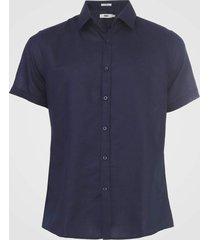 camisa linho forum slim lisa azul-marinho