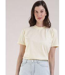t-shirt feminina mindset manga curta decote redondo amarela claro