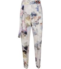 agnona pearl white cotton-silk trousers