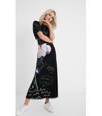 long dress lace embellishments - black - m