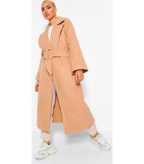 nepwollen jas met wijde mouwen en ceintuur, camel