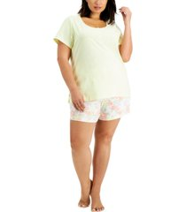 charter club plus size cotton henley & shorts pajama set, created for macy's