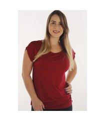 blusa t-shirt prime confort fec fashion básica vermelho bordô