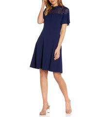 adrianna papell crepe fit & flare dress, size 8 in navy sateen at nordstrom