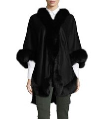 textured dyed fox fur shawl collar coat