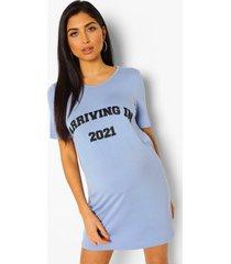 zwangerschaps 'arriving in 2021' nachtjapon, blauw