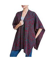 reversible alpaca blend ruana cape, 'crimson abstract' (peru)