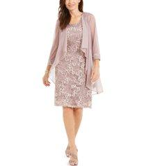 r & m richards embellished lace dress & waterfall jacket