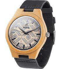 reloj madera design negro nerfis