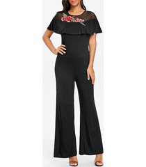 embroidery mesh insert palazzo jumpsuit