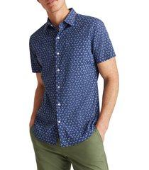 men's bonobos tech palm tree short sleeve stretch button-up performance shirt, size xx-large - blue
