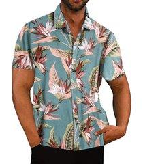 hombres verano tropical impreso casual manga corta camisa