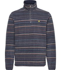 fairisle fleece half zip sweat-shirts & hoodies fleeces & midlayers blå lyle & scott