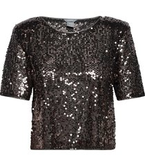 top polly sequin blouses short-sleeved svart lindex