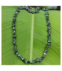 zoisite beaded necklace, 'amazon forests' (brazil)