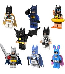 8 pcs  blocks swim rabbit black white suit batman with cape movie fit lego