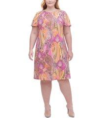 tommy hilfiger plus size paisley-print a-line dress