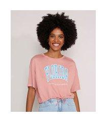 """camiseta cropped florida"""" com cordão manga curta decote redondo rosa"""""""
