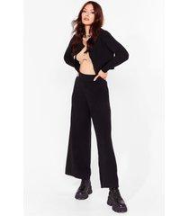 womens knit the lights cardigan and wide-leg pants set - black