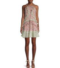 lucia silk & metallic ruffle dress
