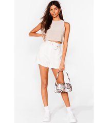 womens working on it belted shorts - white