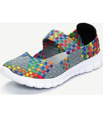 casual scarpe basse sportive slip-on colorate con elastico in tessuto d'intreccio
