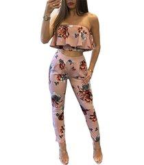 women sexy off shoulder ruffled crop top pants set 2 piece floral print jumpsuit