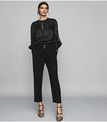reiss cacey - slim fit tailored trousers in black, womens, size 12