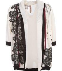 antonio marras cardigan hand painted w/swarovsky and lace